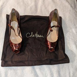 Cole Haan Tortoise Shell Patent Peep Toed Shoes